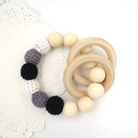 Buttons baby bracelet toy - 2016 Baby toy wooden beaded baby Crochet nursing toy teething bracelet crochet white grey black wooden ring T811
