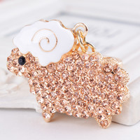 animal sheep - Adorable Little Sheep Key Chains Rhinestone Animals Car Keychains Zinc Alloy Metal Carabiner Keychains for Women Girls zhy
