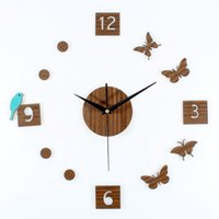 antique clocks and watches - 2016 NEW Creative butterfly and bird mute D DIY wall sticler clock antique home decoration wall watch pastoral style home decor