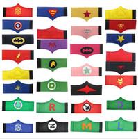 al por mayor cosplay vengadores-Bandas para niños super héroe Muñequera de Cosplay del brazo Superman súper héroe Spiderman Batman Puños vengadores de la muñeca de traje de los niños 19 Estilos