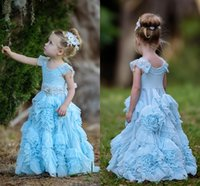 attach bead cap - 2016 Blue Flower Girls Dresses For Weddings Cap Sleeves Ruched Tulle Floor Length Girls Pageant Dresses Attached Sashes Bohemian Styles