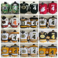 Wholesale Throwback Boston Bruins Bobby Orr Red White Black TH CCM Vintage NHL Ice Hockey Jerseys