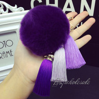 Wholesale High Quality Real Rex Rabbit Fur Ball Plush Keychain Woman Bag Charm Pendant Tassel Keyring Pendant Car Key Chain Key Ring Fashion Jewelry