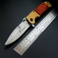 Wholesale Browning Pocket Hunting E DA69 Knife Cr13Mov Stainless Steel Blade Folding Tactical Knives Camping With Red Wood AAA