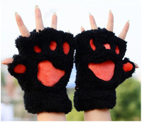 Wholesale 2016 fashion Ladies Winter Fingerless Gloves Mittens Fluffy Bear Cat Plush Paw Claw Half Finger Glove Half Cover Women Female Glove LayCJWCR