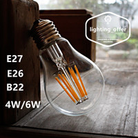 Wholesale Hot Sale W W A60 E27 E26 B22 Dimmable LED Filament Light Bulb White Light k K Clear Glass Cover