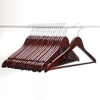 Wholesale Hangers Multifunctional High Grade Solid Wooden Suit Hangers Coat Hangers Walnut Finish