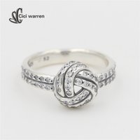 Wholesale Sparking love knot Rings Original Sterling Silver Clear CZ Crystal Wedding Rings For Women European Brand RI075
