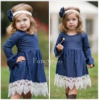 beautiful military - dresses fashion baby tutu girls dress Cute Girl Kids Y Lovely Denim Blue Beautiful Lace Cowboy Clothes Long Sleeve denim clothing