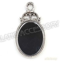 antique oval mirror - Alloy Oval Mirror Antique Silver Plated Charms Pendants Fit Jewelry Making x28x4mm