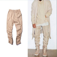 Wholesale black green khaki justin bieber hip hop harem side zipper pants skinny mens joggers Sweatpants trousers jeans pantalon homme