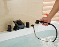 bathtub faucet knobs - Oil Rubbed Bronze Glass Spout Bathtub Mixer Faucet Knobs Widespread Mixer Tap
