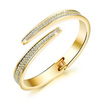 Wholesale Expandable Bridal Bracelet CZ Wedding Bangle Jewelry Crystal Wedding Bracelet Silver Gold