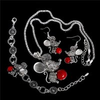 aqua mouse - New Womens Jewelry Charming Cute Mouse Turquoise Pendant Necklace Earrings Bracelet Jewelry Sets