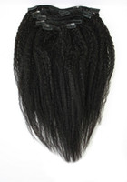 Wholesale 8 quot quot Yaki Kinky Straight Natural Rey Clip in Hair Extensions Cheapest Natural Black Remi Hair Weaving