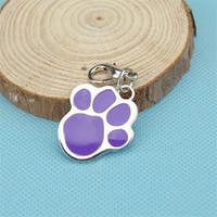 achat en gros de harnais inoxydable-Colar Perros harnais de chien pour Cachorro nouvelle mode accessoires pour animaux de compagnie en acier inoxydable 6 couleurs chien Tag Footprints for Pets Supplies