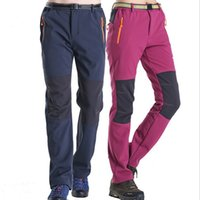 Wholesale Sofeshell Hiking Pants men women stretchy Climbing amp Camping Trousers quick dry Waterproof fleece ski couple pants trousers