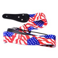 Wholesale USA United States American Flag Printing Adjustable PU Leather Ends Polyester Guitar Strap