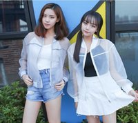 baseball institute - 2016 summer new transparent organza collar baseball sunscreen coat sun protection clothing Korean Institute of loose women