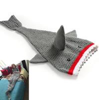 Wholesale Kids Shark Tail Blankets Mermaid Tail Blankets Sleeping Bags Wraps Cocoon Sofa Bed Soft Warmer Knit Crochet Blankets Children PPA37
