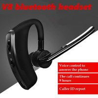Wholesale V8 Bluetooth Headphones Wireless Earphone Ear Hook Style Voice Control Mini Bluetooth Headset With MIC for Work Mobile Phone