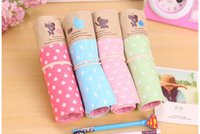Wholesale 2016 new dot cartoon little fly elphant canvas rolling curtain large capacity pen bag