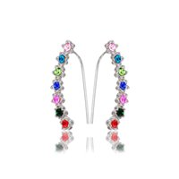 Wholesale Top Sale Cute Ear Cuffs Eartilage Multicolor Long Clip Earrings Crystal Stone For The Ears Climber Earring For Girls