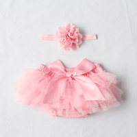 Wholesale 2016Hot Sales Newborn Toddler Baby Girl Children s Tutu Skirts Dresses Headband Outfit Fancy Costume Yarn Cute Colors choose