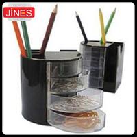 pencil holder - 2pcs Pencil Holder Organizer Office School Desk Black Pen Containers Cosmetic Plastic Pen Multifunction stationery