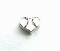 baseball float - New Design FC1022 floating locket charms Baseball Heart floating living locket as gift wholesales