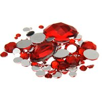 Wholesale Mixed Sizes Red Color Round Acrylic Loose Non Hotfix Flatback Rhinestones Nail Art Crystal Stones For Wedding Clothing Decorations