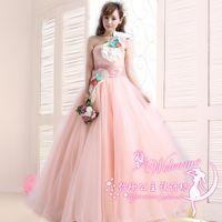 Wholesale Lace Embroidery Dress Catwalk - Sweet Pink Quinceanera Dresses 2016 New One Shoulder A-line Lace Flower Elegant Catwalk Dress Plus Size Formal Performance Dress