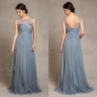 Wholesale Elegant Dusty Blue Tulle Bridesmaid Dresses Illusion Bateau Neckline Pleats Bodice A Line Floor Length