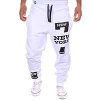 Wholesale Outdoor Men New York Letters Printed Pants Comfortable Sweatpants Joggers Male Cotton Drawstring Trousers Pants