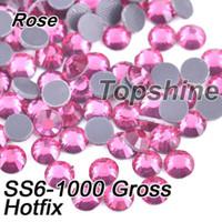 achat en gros de strass verre brut-Emballage en vrac 1000 SS6 brut Matériau Verre Rose DMC Hotfix Strass Pour Garment