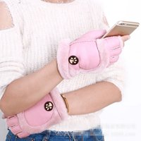 Wholesale 2016 new women s fashion semi finger warm gloves leather gloves