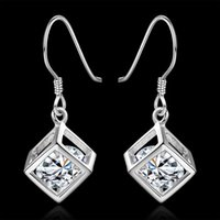 alphabet list - New listing silver Plated earrings for women lady square elegant hining zircon crystal earrings jewelry e583