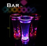 Wholesale Colorful LED flash cup multicolor Lighting up LED Water induction flash cup glass led wine glass for party