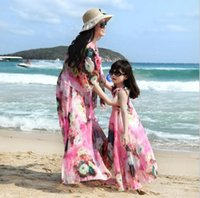 Wholesale New Mother and Daughter Dress matching clothes with Belt Bohemia Long Maxi Summer beach Dresses Family outfits T XS XXL