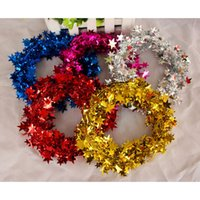 bauble garland - 6 Set Xmas Baubles Indoor Home Christmas tree Rattan Garlands Decorations Color Bar Star wire m Craft Supplies