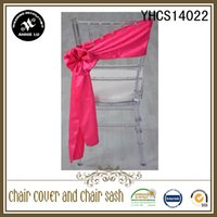 Wholesale Hot sale pc cheap fancy fuchsia self tie plain dyed satin chair cover sash for wedding