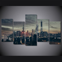 asian framed art - 5 Set No Framed HD Printed The city at night Painting on canvas room decoration print poster picture canvas asian art