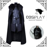 Wholesale 2016 New Hot Game of Thrones Costume Jon Snow Costume Outfit With Coat Halloween Costume For Men Cosplay Costume