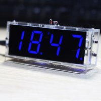 Wholesale Compact digit DIY Digital LED Clock Kit Light Control Temperature Date Time Display with Transparent Case E1286