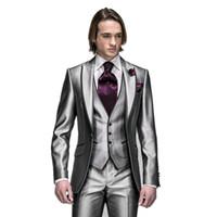 Wholesale New Arrival Silver Slim Fit Mens Wedding Suits Custom Peak Lapel One Button Groom Tuxedos Groomsman Prom Party Suits jacket Pants vest tie