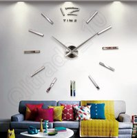 Wholesale 1Lot Modern DIY Analog D Large Wall Clock Mirror Surface Sticker Home Office Decor Backdrop LLA172