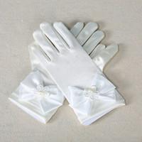 Wholesale Flower Girl Children Finger Gloves Bow Princess Dress White Pink Colors Gloves M L Size