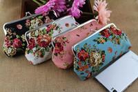 Wholesale 18 CM Long Size Coin Purse Canvas Rose Wallet Hasp Clutch Mobile Phone Handbag Money Bag Vintage Rose Flower Coin Purse