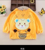 apron material - embroidery cartoon baby bibs for feeding velvet material baby overclothes o neck type waist apron