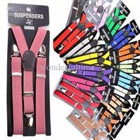 Wholesale Children Boys Girls Clip on Adjustable Elastic Y Back Braces suspenders Color